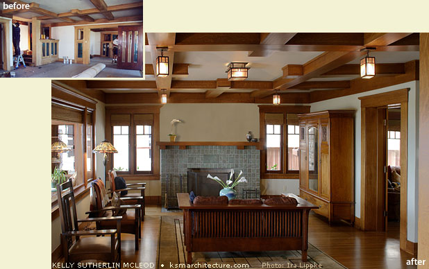1913 Craftsman Style Residence Living Room ...